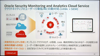 図1●Oracle Security Monitoring and Analytics Cloud Serviceの概要(出所:日本オラクル)