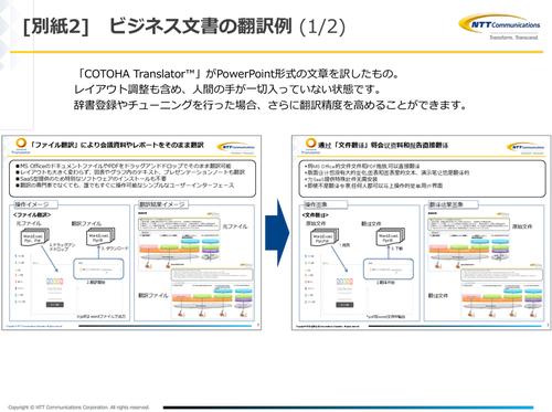 図1:Office文書ファイルのまま翻訳できる(出典:NTTコミュニケーションズ)