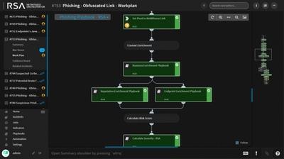 図1●RSA NetWitness Orchestratorのプレイブック画面の例。あるフィッシング事案に対し、ベストプラクティスに基付いた調査方法や機器に対するコマンドをプレイブックとして連続して表示し、チャート形式で次の手順を示している(出所:デルとEMCジャパン)