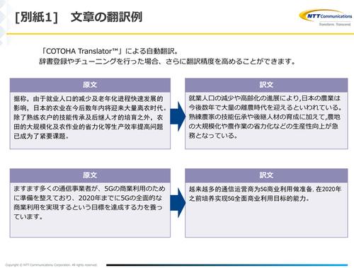 図2:COTOHA Translatorによる中国語翻訳のサンプル(出典:NTTコミュニケーションズ)